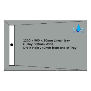 Linear Tray & Drain 1200x900mm Wetroom Kit